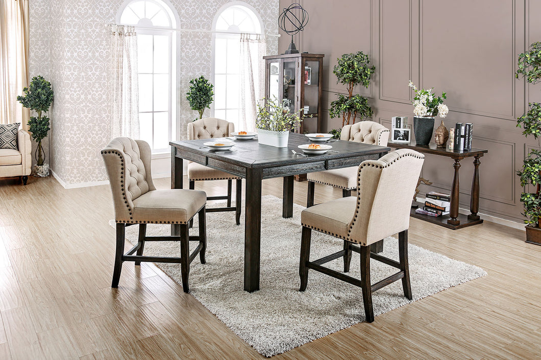 SANIA III Antique Black, Ivory 5 Pc. Sq Counter Ht. Table Set w/ Wingback Chairs