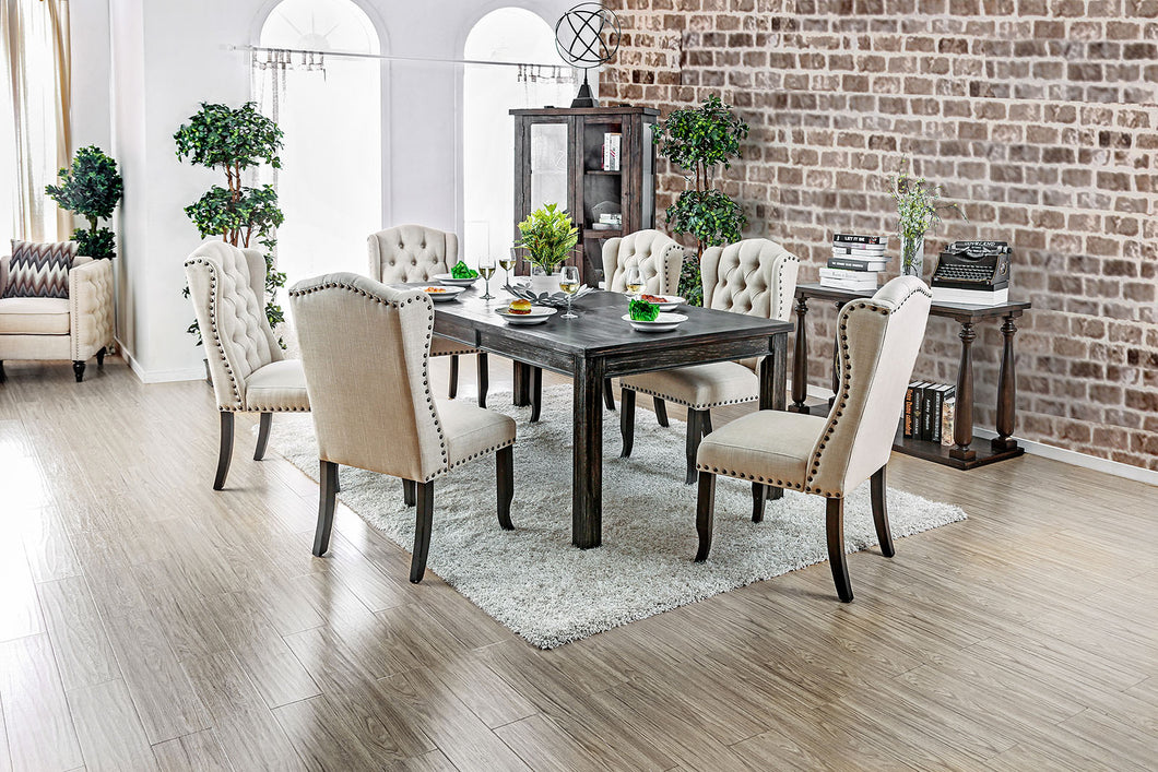 Sania III Antique Black, Gold 9 Pc. Dining Table Set