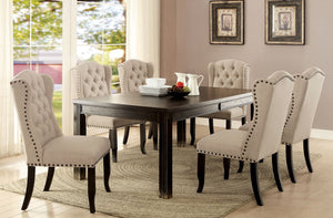Sania III Antique Black, Ivory 7 Pc. Dining Table Set