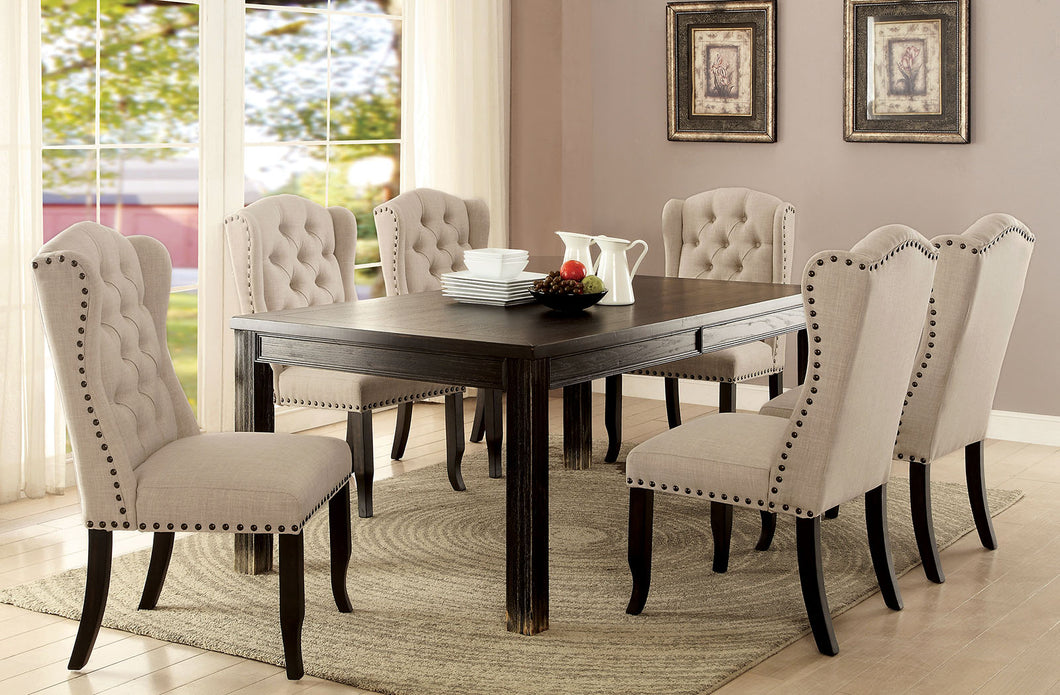 Sania III Antique Black, Ivory 6 Pc. Dining Table Set w/ Bench, Gray