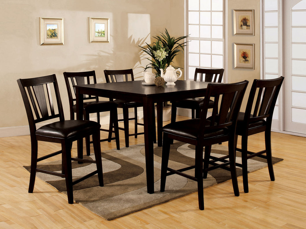 Bridgette II Espresso 7 Pc. Sq. Counter Ht. Table Set