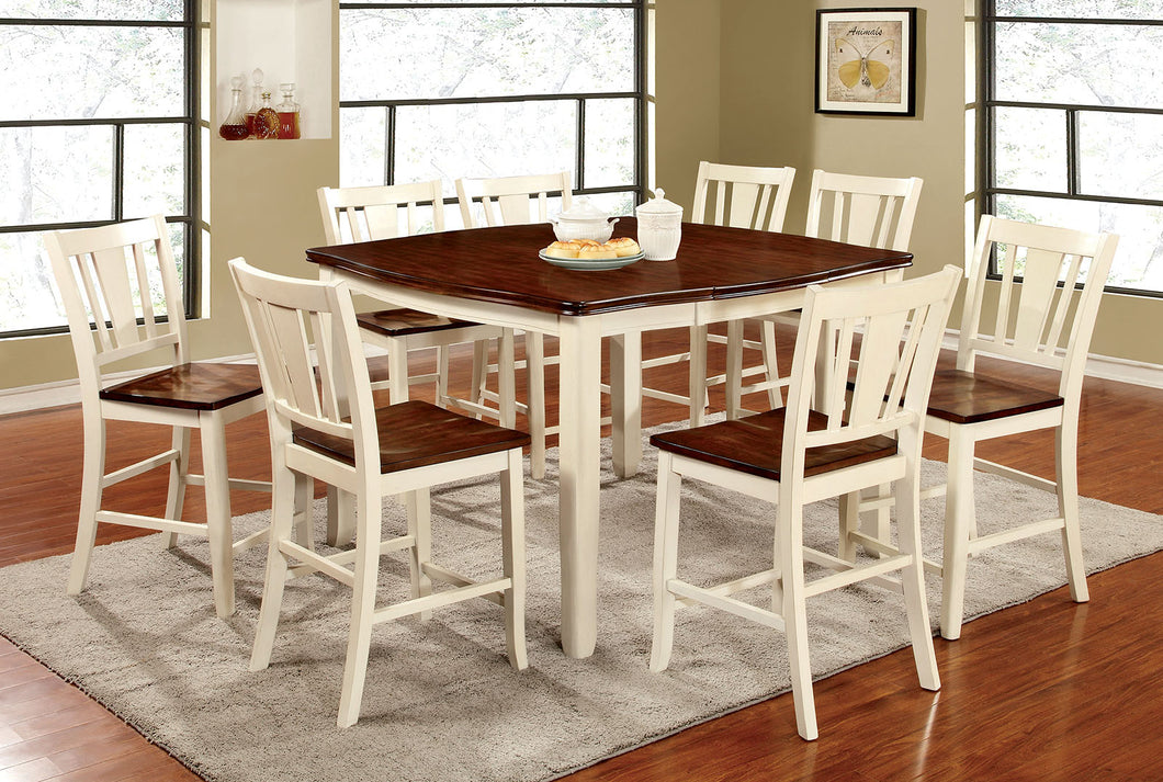 DOVER II Vintage White 9 Pc. Counter Ht. Dining Table Set