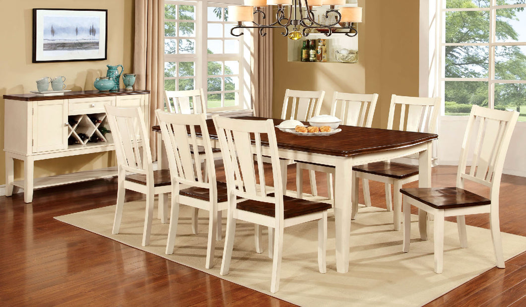 DOVER Vintage White 9 Pc. Dining Table Set