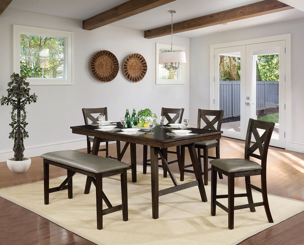 Bridgeville Wire Brushed Rustic Brown 6 Pc. Counter Ht. Dining Table Set w/ Bench