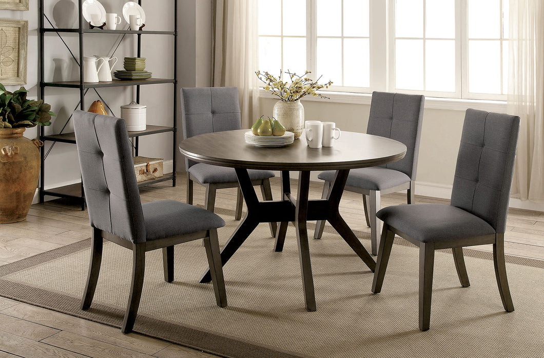 ABELONE Gray, Light Gray 5 Pc. Round Dining Table Set