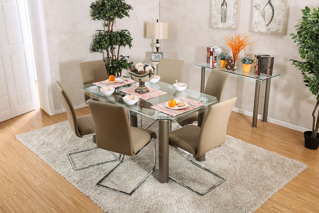 Walkerville I Champagne/Chrome Dining Table, Champagne