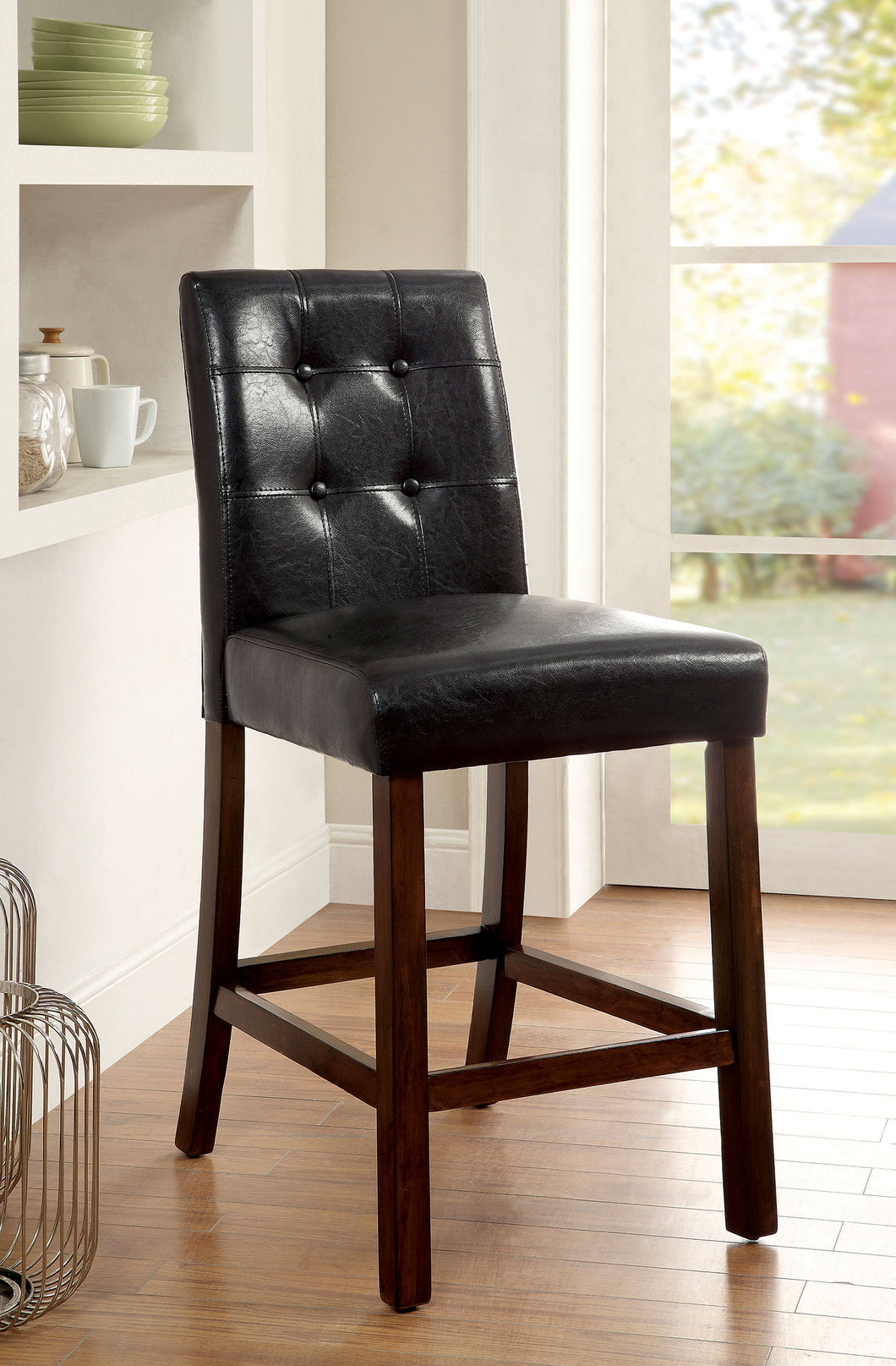 Marstone II Brown Cherry/Black Counter Ht. Chair (2/CTN)