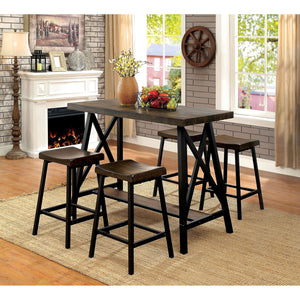 Lainey Medium Weathered Oak/Black 5 Pc. Bar Table Set
