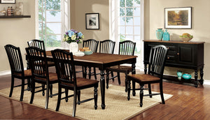 MAYVILLE Black/Antique Oak 9 Pc. Dining Table Set