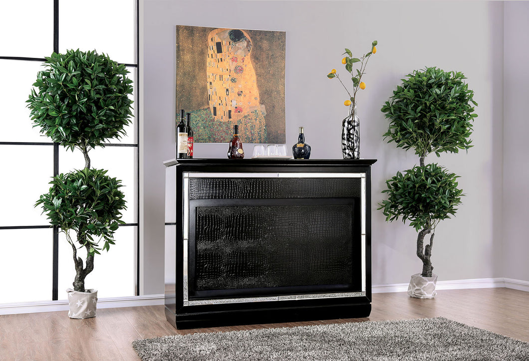 Alena Black Bar Table w/ LED Touch Light & Mirror