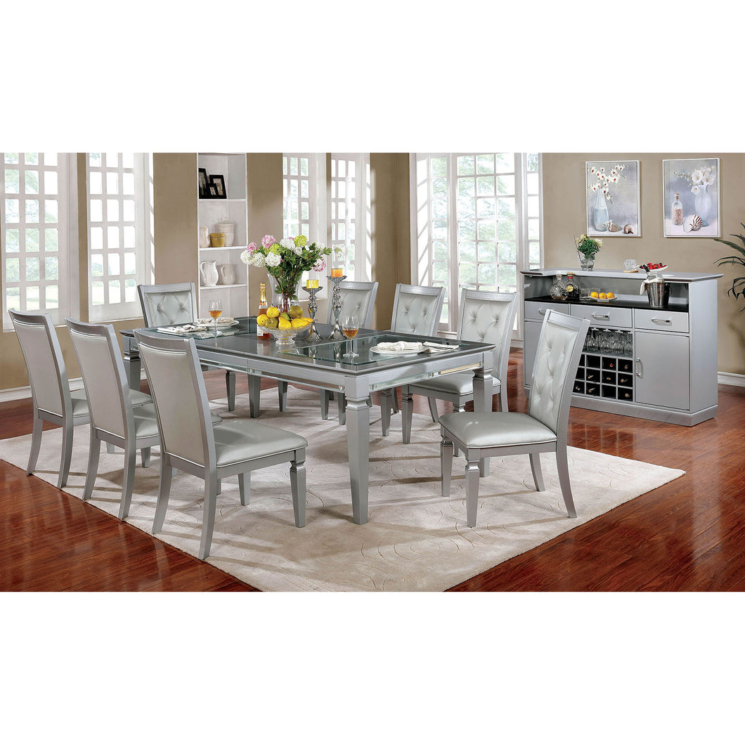 Alena Silver 9 Pc. Dining Table Set