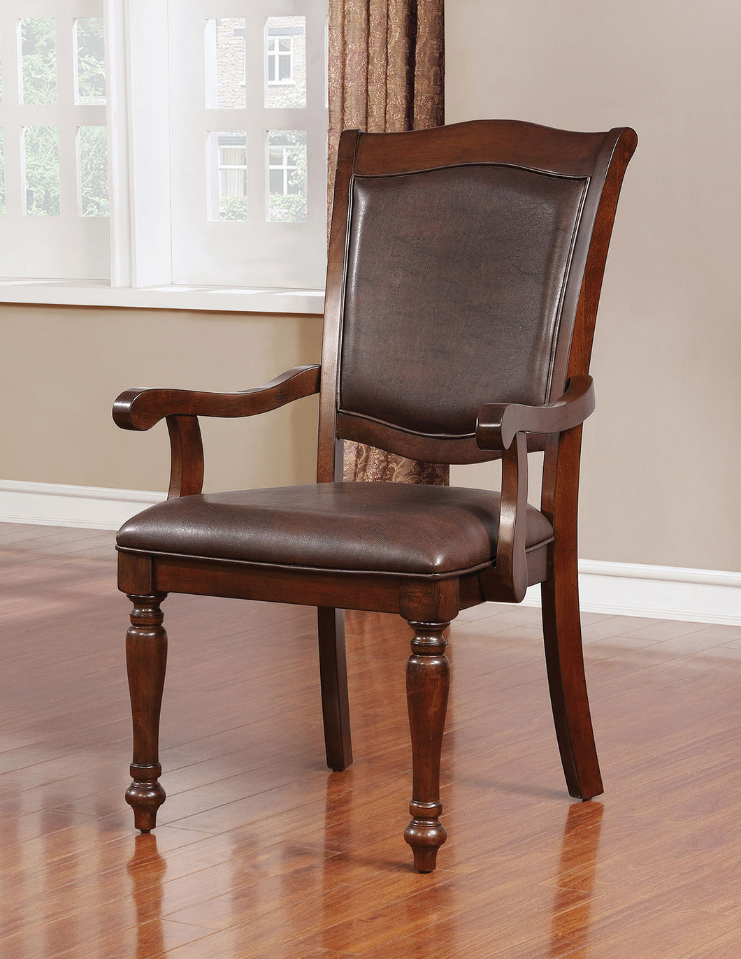 Sylvana Brown Cherry/Espresso Arm Chair (2/CTN)