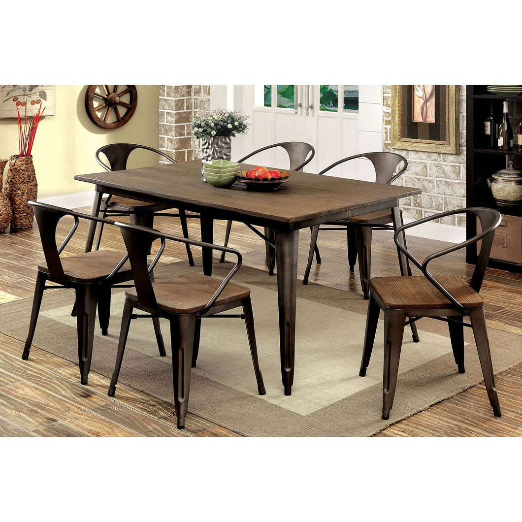 COOPER I Natural Elm, Dark Bronze 7 Pc. Dining Table Set