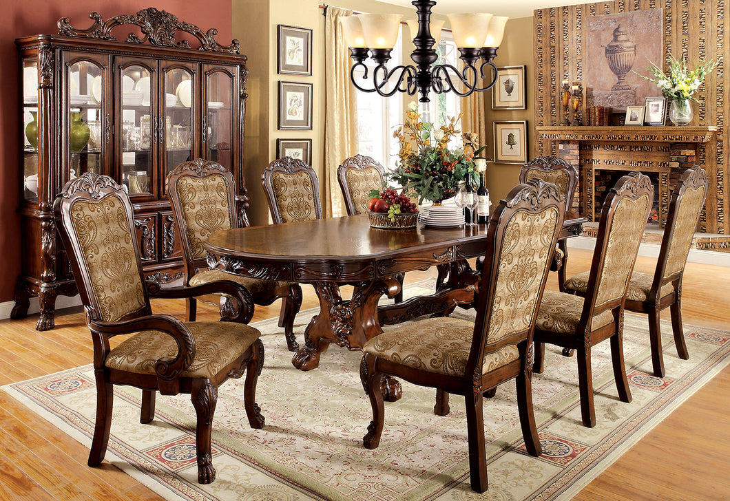 MEDIEVE Cherry 9 Pc. Dining Table Set (2AC+6SC)