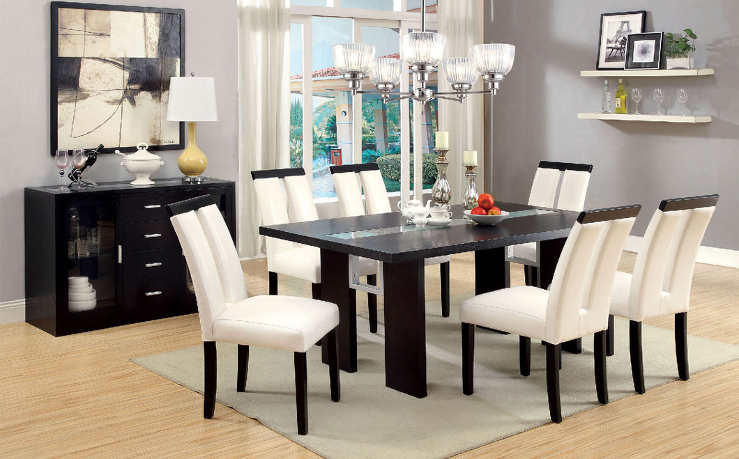Luminar Black Glass-Insert Dining Table