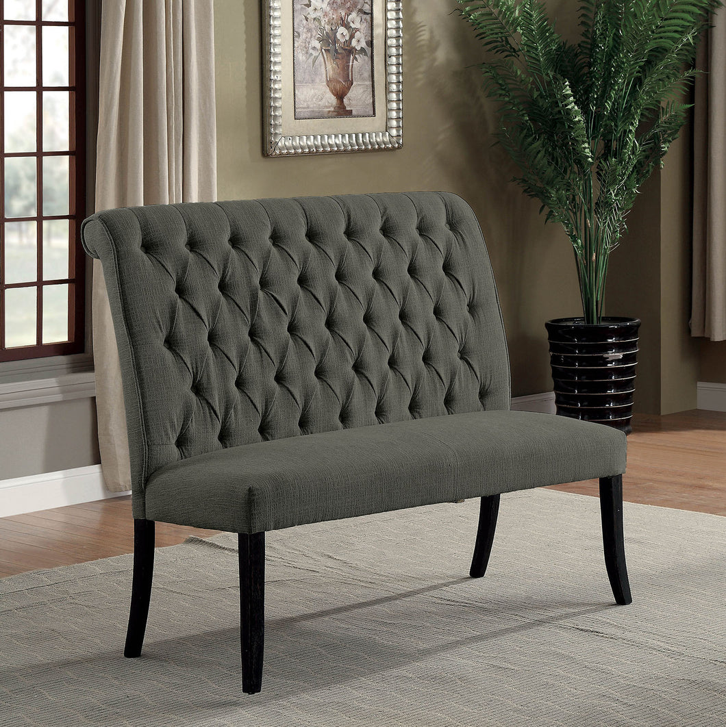 Mashall Gray/Antique Black Love Seat Bench, Gray