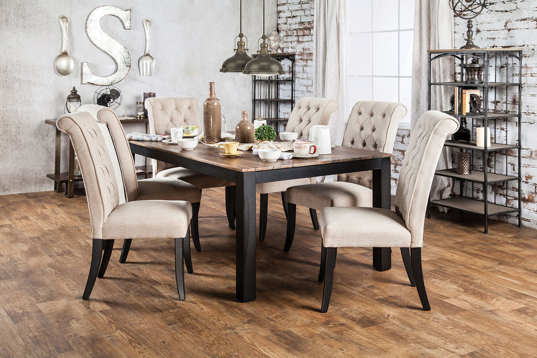 MARSHALL Rustic Oak, Beige 7 Pc. Dining Table Set