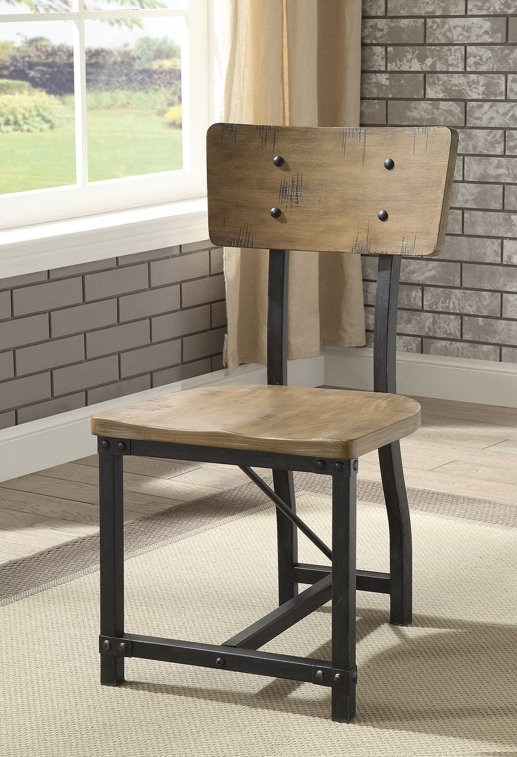 Kirstin Rustic Oak/Black Side Chair (2/CTN)