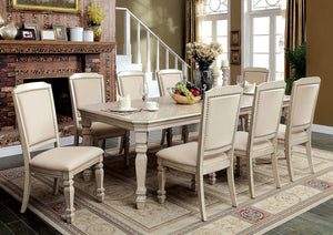 HOLCROFT Antique White 9 Pc. Dining Table Set