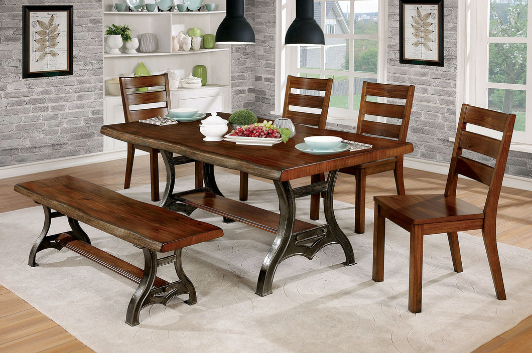 Leann Brown Cherry/Dark Gray 6 Pc. Dining Table Set w/ Bench