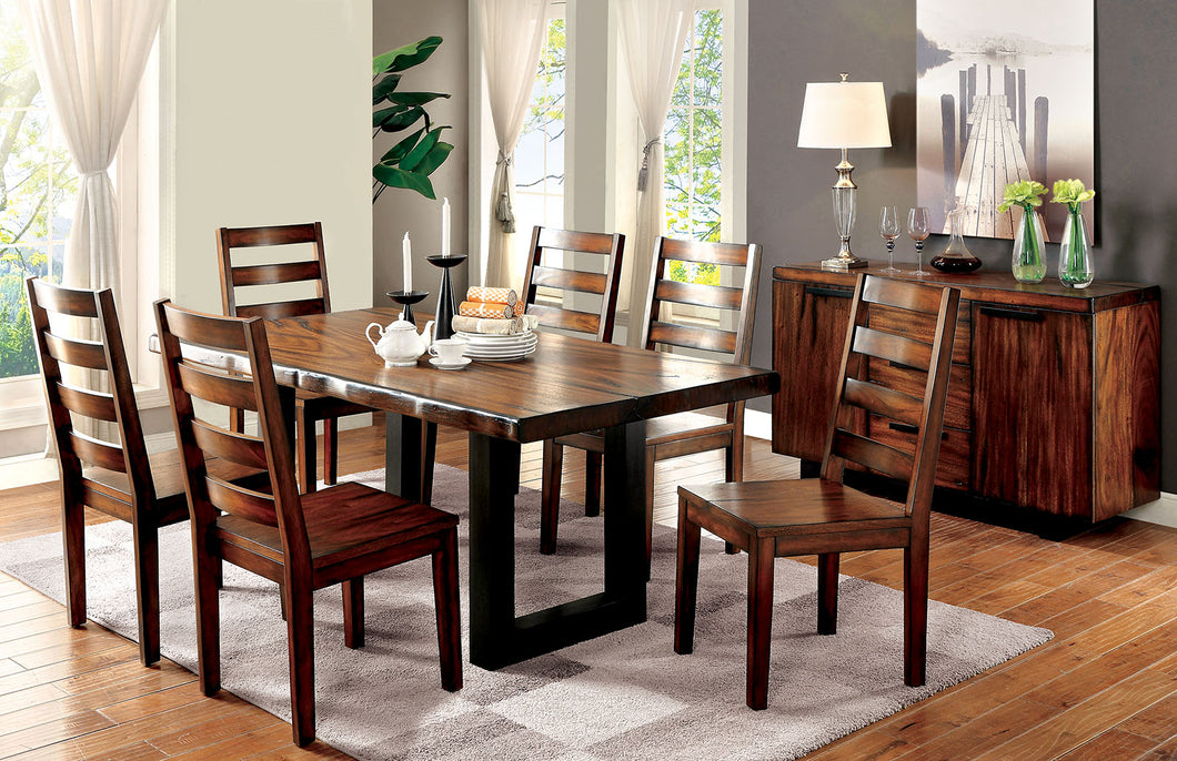 MADDISON Tobacco Oak 6 Pc. Dining Table Set w/ Bench