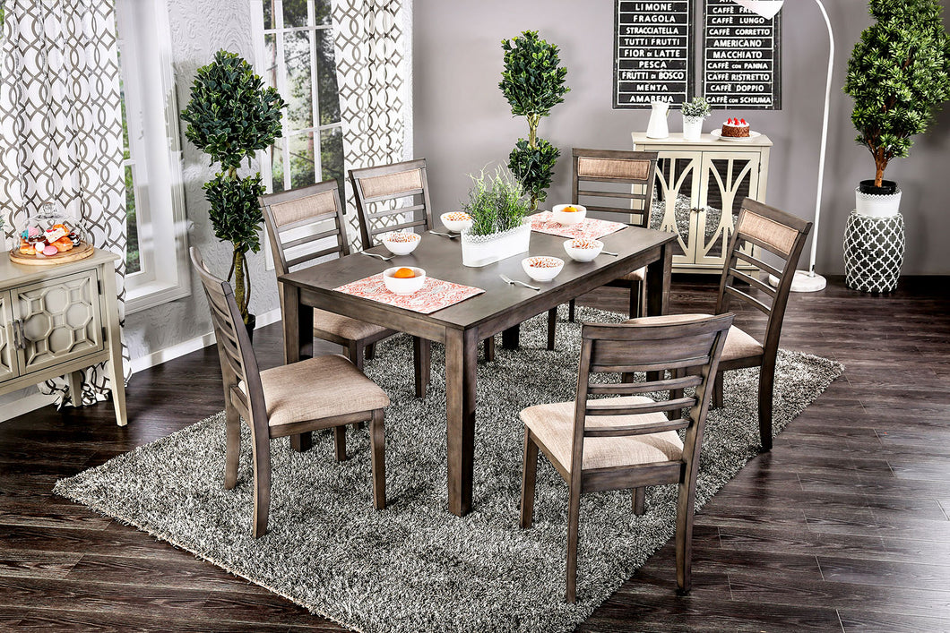TAYLAH Weathered Gray/Beige 7 Pc. Dining Table Set