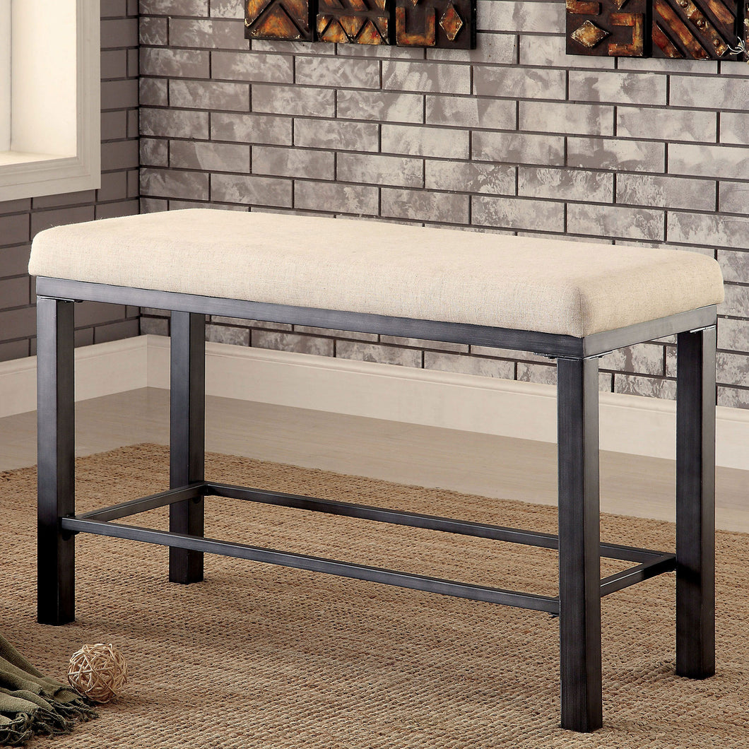 JAZLYN II Ivory/Black Counter Ht. Bench