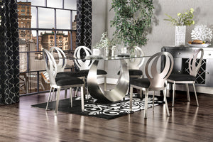 ORLA Silver/Black 7 Pc. Dining Table Set
