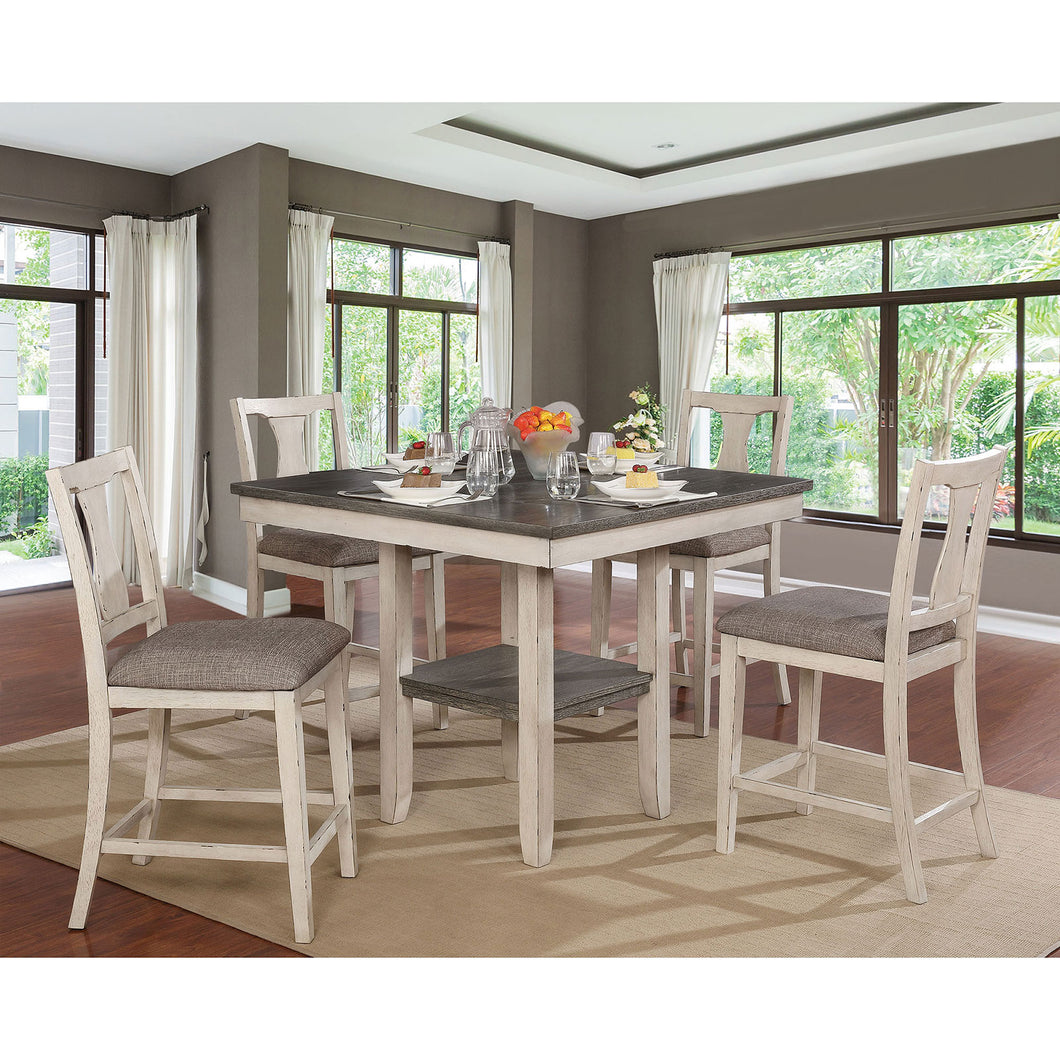 Ann II Antique White/Gray 5 Pc. Counter Ht. Table Set