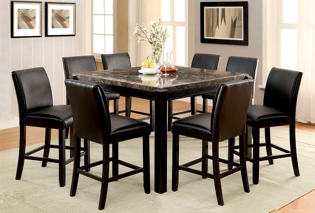 GRANDSTONE II Black Counter Ht. Table, Gray Marble Top