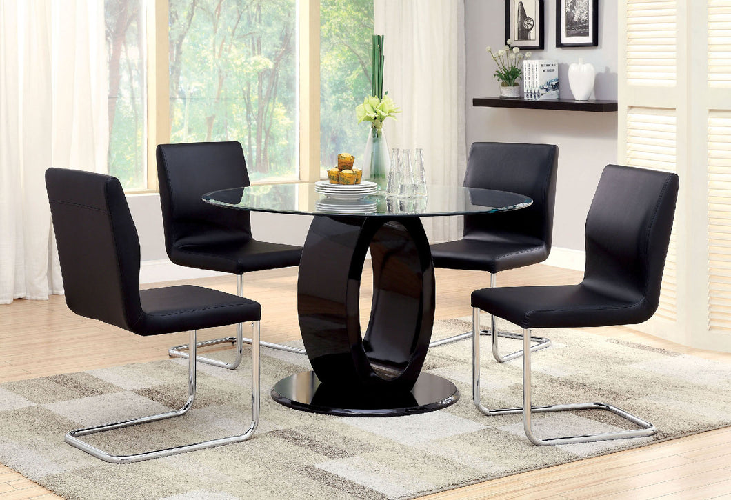 LODIA I Black 5 Pc. Round Dining Table Set
