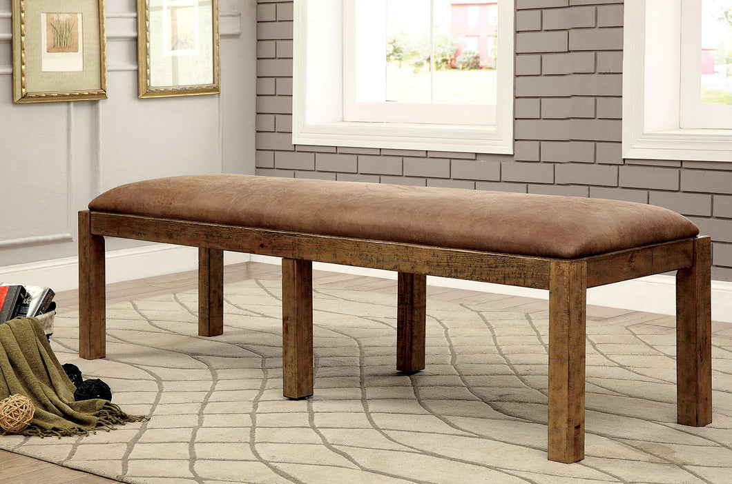 GIANNA Rustic Pine Fabric Bench
