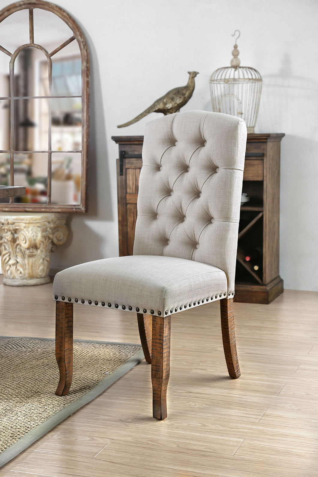 Gianna Rustic Pine/Ivory Side Chair (2/CTN)