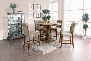 Nerissa Rustic Oak 5 Pc. Round Counter Ht. Dining Table Set