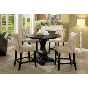 Nerissa Antique Black 5 Pc. Round Counter Ht. Table Set