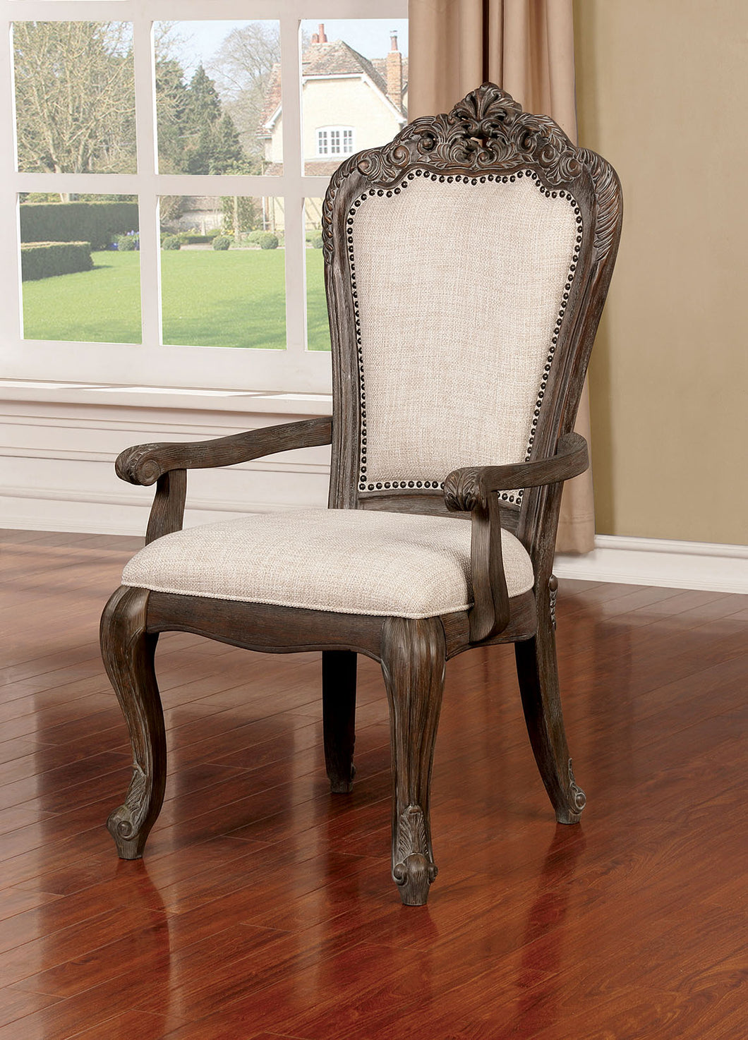 Charmaine Antique Brush Gray Arm Chair (2/CTN)