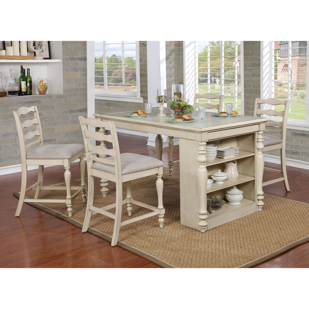 Theresa Antique White 5 Pc. Dining Table Set
