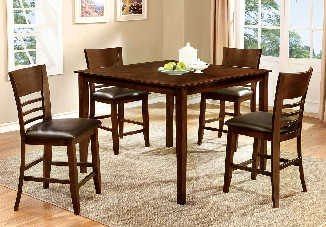 HILLSVIEW II Brown Cherry 5 Pc. Counter Ht. Table Set
