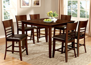 HILLSVIEW II Brown Cherry 7 Pc. Counter Ht. Table Set
