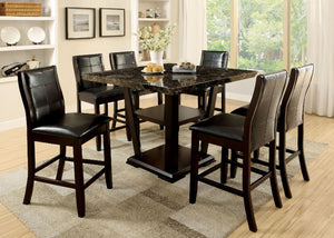 CLAYTON II Dark Cherry/Black 7 Pc. Counter Ht. Dining Table Set