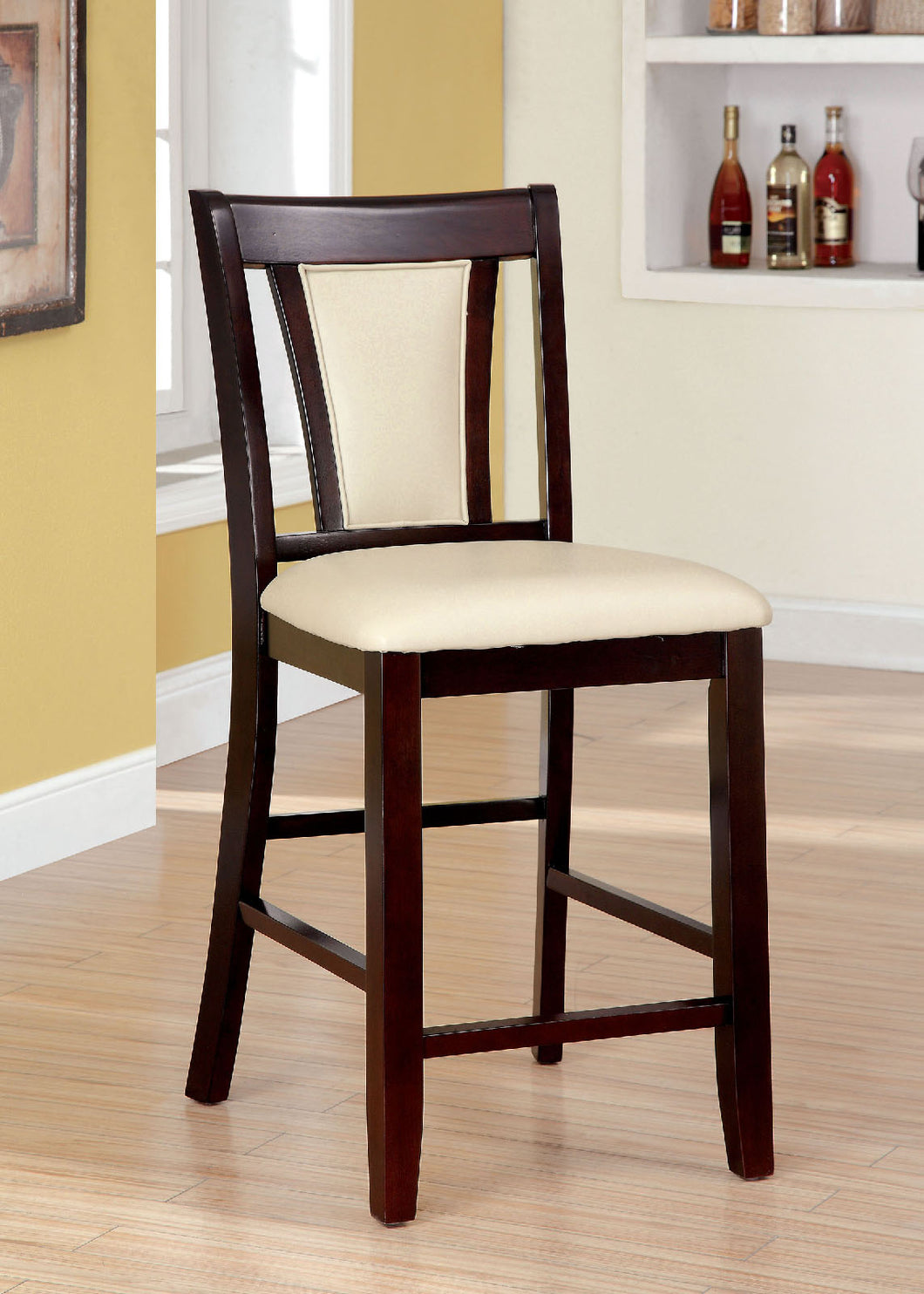 BRENT II Dark Cherry/Ivory Counter Ht. Chair (2/CTN)