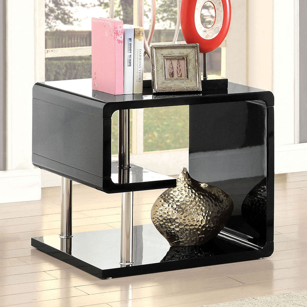 Ninove Black/Chrome End Table