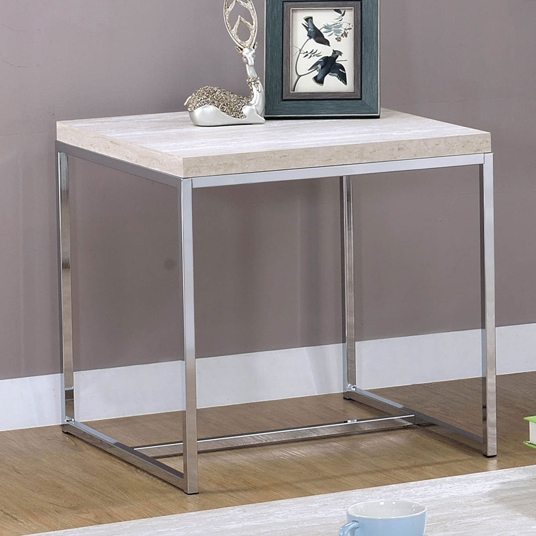 Olle Natural/Chrome End Table