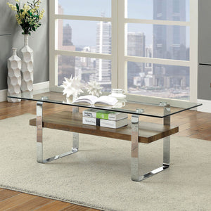 Elpeth Chrome/Dark Oak Coffee Table