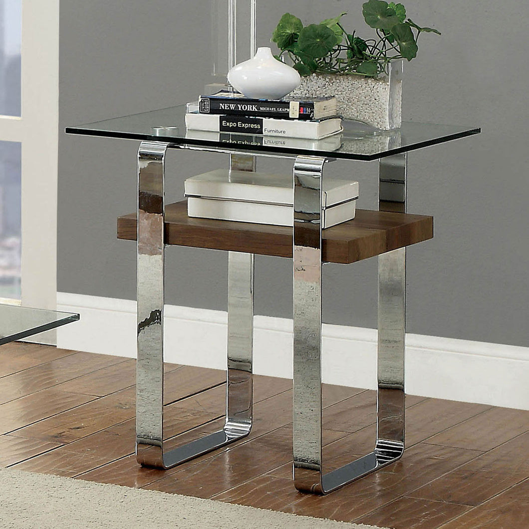 Elpeth Chrome/Dark Oak End Table