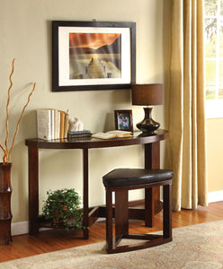 Crystal Cove II Dark Walnut Half-Oval Sofa Table w/ Stool