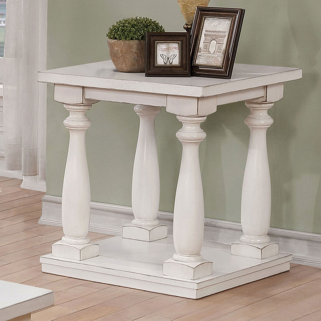Tammie Antique White End Table, White