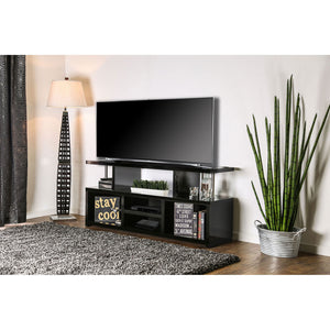 EVERE Black/Chrome 60' TV Console, Black