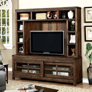 "Hopkins Dark Walnut 72"" TV Console + Hutch"