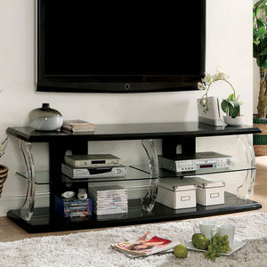 "Ernst Black/Clear 72"" TV Stand"